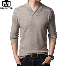 MIACAWOR, зимний мужской свитер, теплый пуловер, мужской модный свитер с воротником, мужской свитер, облегающий свитер, Y203