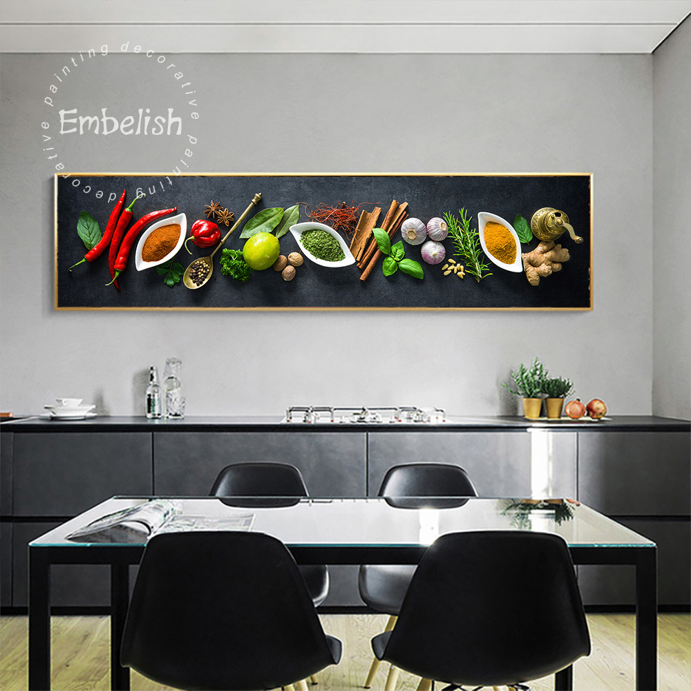 Embelish 1 Pieces Large Wall Art Posters For Kitchen Home Decor Various Herbs And Spices HD Print Canvas Oil Restaurant Painting