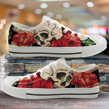 ELVISWORDS Sugar Skull with Rose Print Women's Sneakers Classic Low Style Canvas