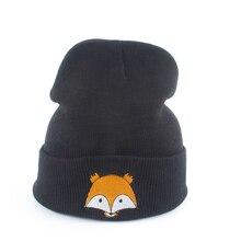 цена на 2019 Autumn Winter Warm Hats For Women Cartoon Embroidery Fox Animal Beanie Knitted Hat Bonnet Men Hip Hop Cap Skullies Gorros