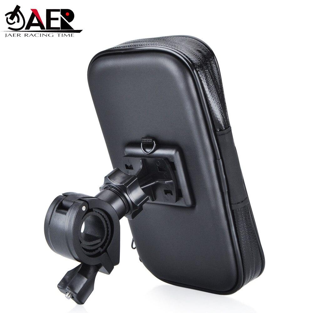 JAER motocicleta bicicleta ATV espejo soporte resistencia al agua funda para teléfono móvil GPS soporte de montaje cargador USB