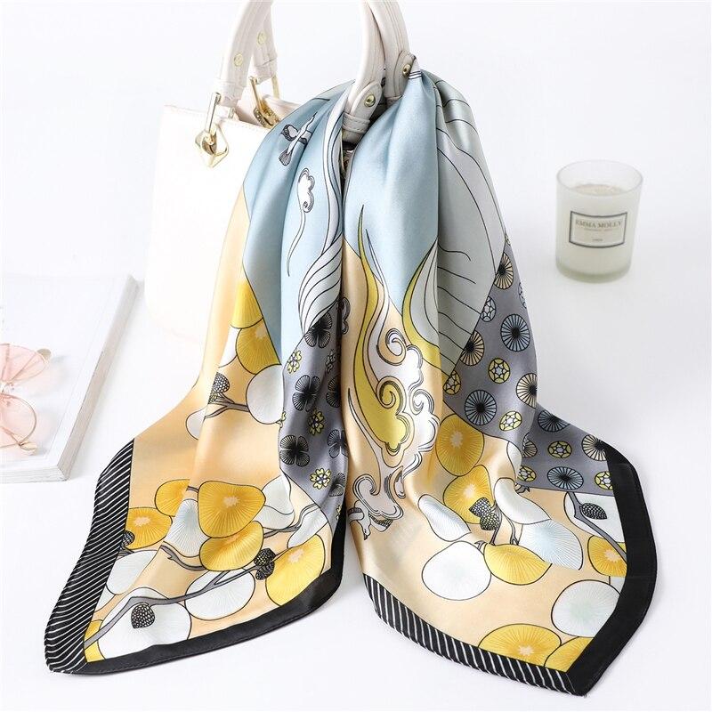 Women Silk Neck Scarf Square 70*70cm Foulard Shawls Lady Wraps Designer Print Hair Band Accessories Bandana Scarves