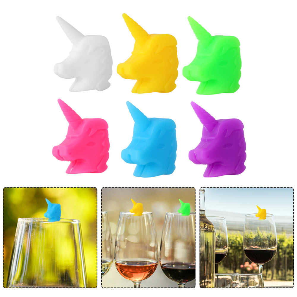 12PCS NEW Animal DRINKS MARKER Set of 12 Re-usable Silicone Wine Glass G