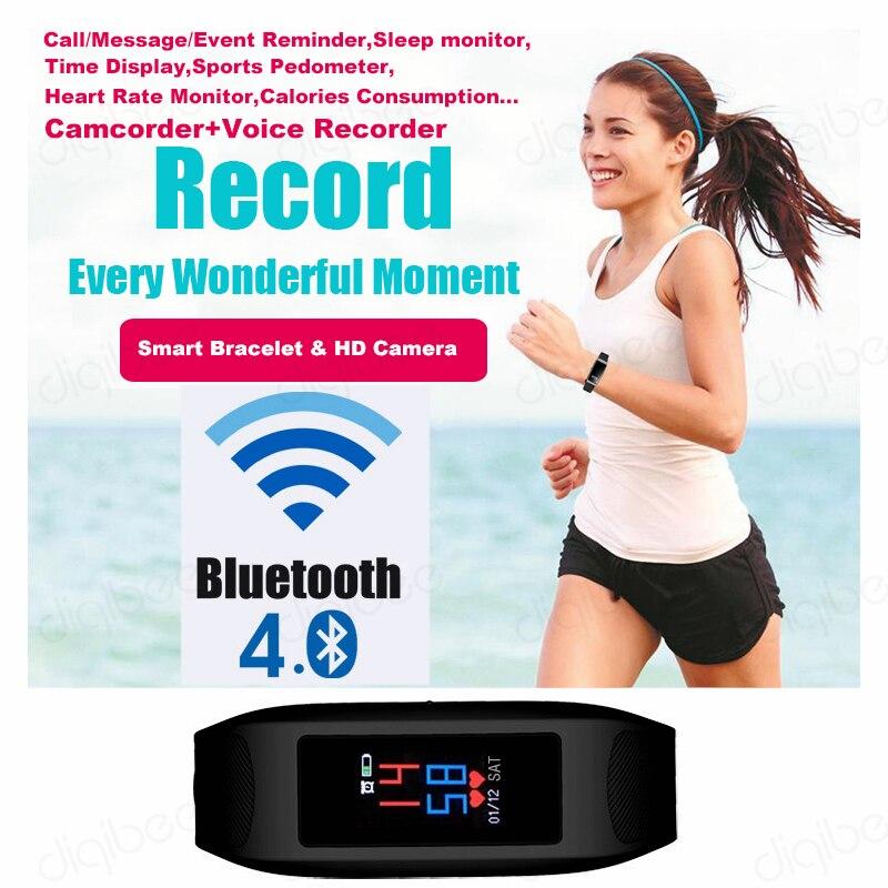 Умный браслет с сенсорным экраном, шагомер, калории, монитор сердечного ритма, умные часы, камера HD 1080 P, видео Диктофон, спортивный DV - 4