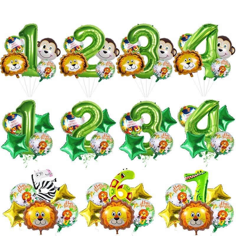 Джунгли сафари 1-й 2-й 3-й день рождения воздушные шары сафари воздушные шары из фольги в виде животного для ребенка Дикие один день рождения т...