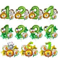 Selva safari 1st 2rd aniversário balões safari animal folha balões para o bebê selvagem um aniversário fontes da festa de aniversário bolas