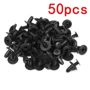 50pcs Black 6mm Rivets Bumper Fender Hole Dia Plastic Fender Fastener Clips For Car Rivets Fasteners Clips For Honda Toyota