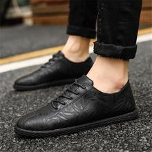 Whoholl Men's Sports Shoes Patent Leather Man Casual Slip-on Shoes Spring Cow Leather Male Leisure Shoes Pure Black Size 39-44 plus size 34 43 genuine leather women shoes fashion leisure spring pointy bling rhinestone flats shoes patent leather crystal