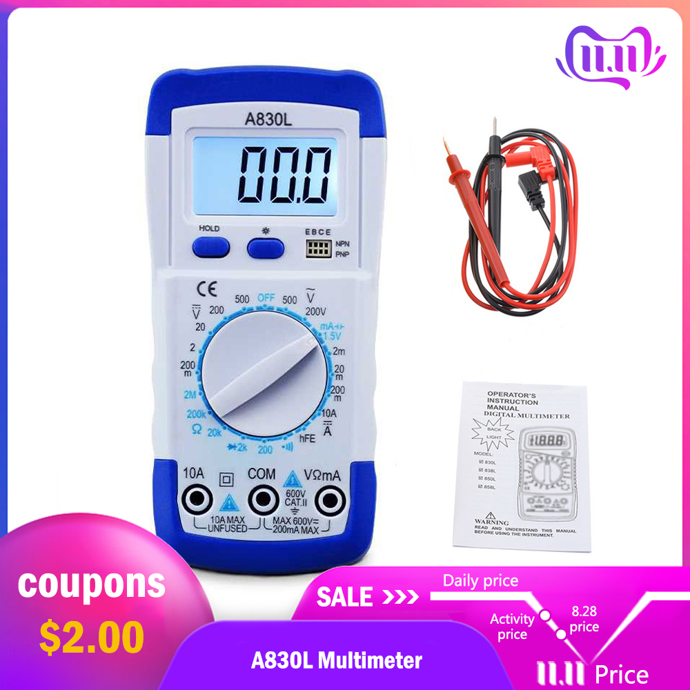 1Pcs A830L LCD Digital Multimeter AC DC Voltage Diode Freguency Multitester Current Tester Luminous Display with Buzzer Function-in Multimeters from Tools