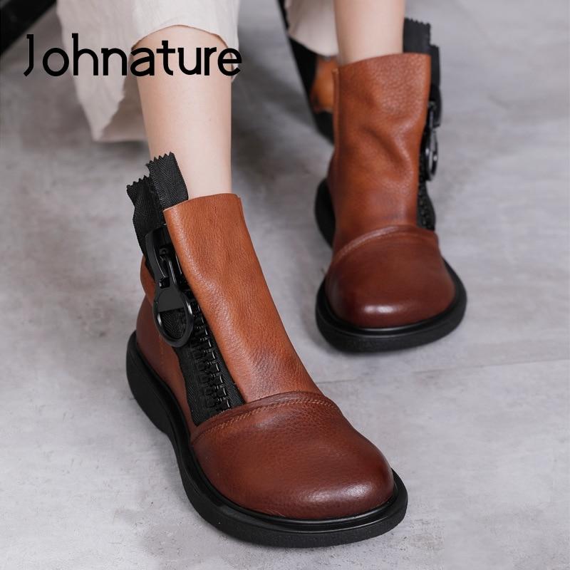 Johnature/женские ботинки на платформе из натуральной кожи; Новинка 2020 года; Зимняя женская обувь на молнии с круглым носком; Женские ботильоны ручной работы на плоской подошве|Полусапожки|   | АлиЭкспресс