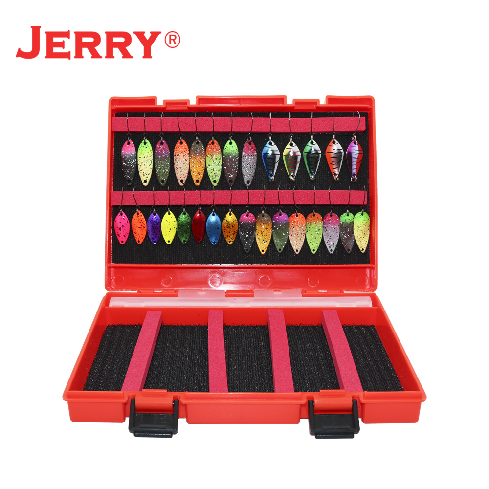 Jerry Ultralight Micro Area Trout Spoon Kit Spinners Baubles Glitters Fishing Lures Set Assortment Tackle Box