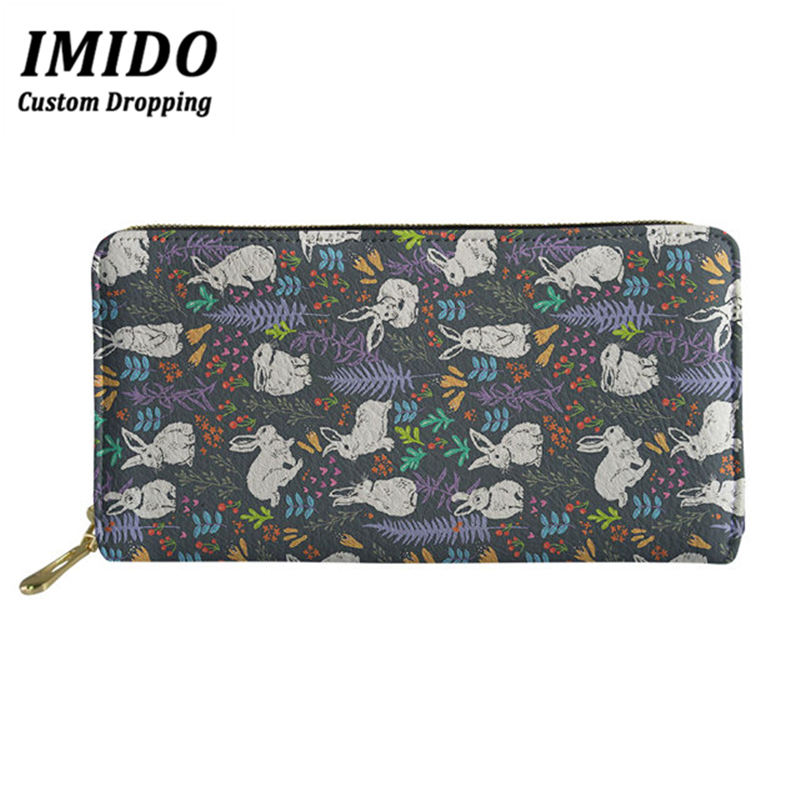 IMIDO Fashion Purse Rabbit Cute Prints Women's Wallet Ladies Leather PU Purses Big Wallet Women Personalized Wallet Wallet Femal