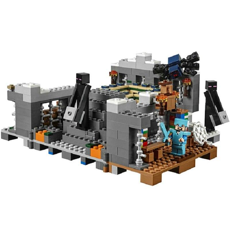 The End Portal Building Blocks With Steve Action Figures Compatible LegoINGlys MinecraftINGlys Sets Toys For Children 21124 3