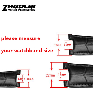 Image 3 - Echtes leder armband für GC armband 22*13mm 20*11mm Kerb strap withstainless stahl schmetterling schnalle