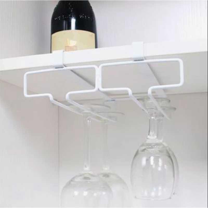 Double Baris Gelas Anggur Pemegang Menggantung Terbalik Cup Piala Rak Rumah Bar Stainless Steel Anggur Berdiri