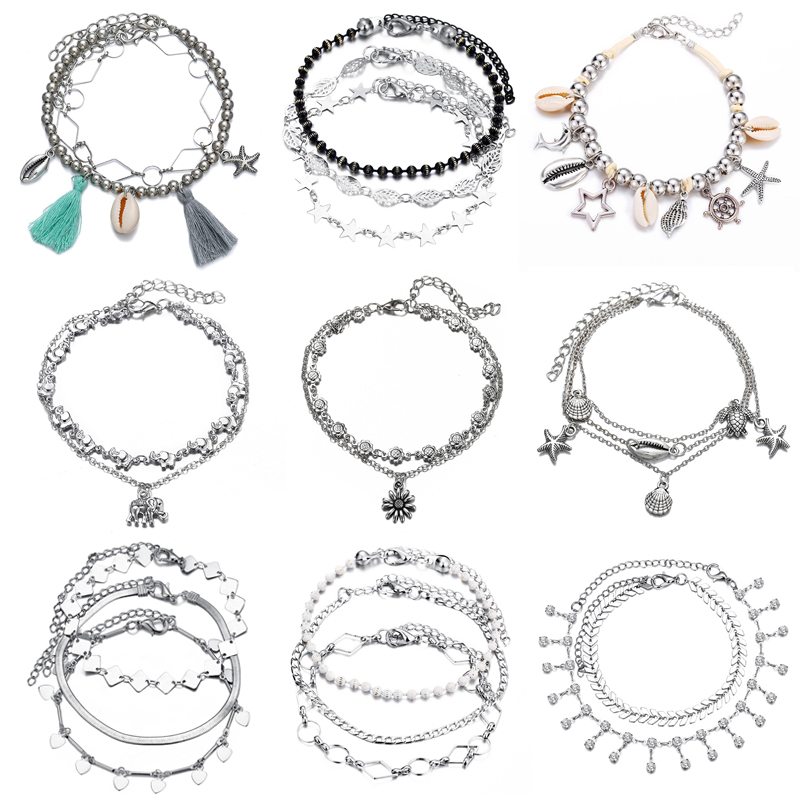 Fashion Starfish Pendant Anklets For Women Stone Beads Sea Shell Anklet Bracelets On Leg Boho Ocean Beach Jewelry
