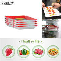 Plastic food tray kitchen Refrigerator Food Fresh Storage Container stackable Food Preservation Tray Kitchen Tools 1/2/3/4pcs