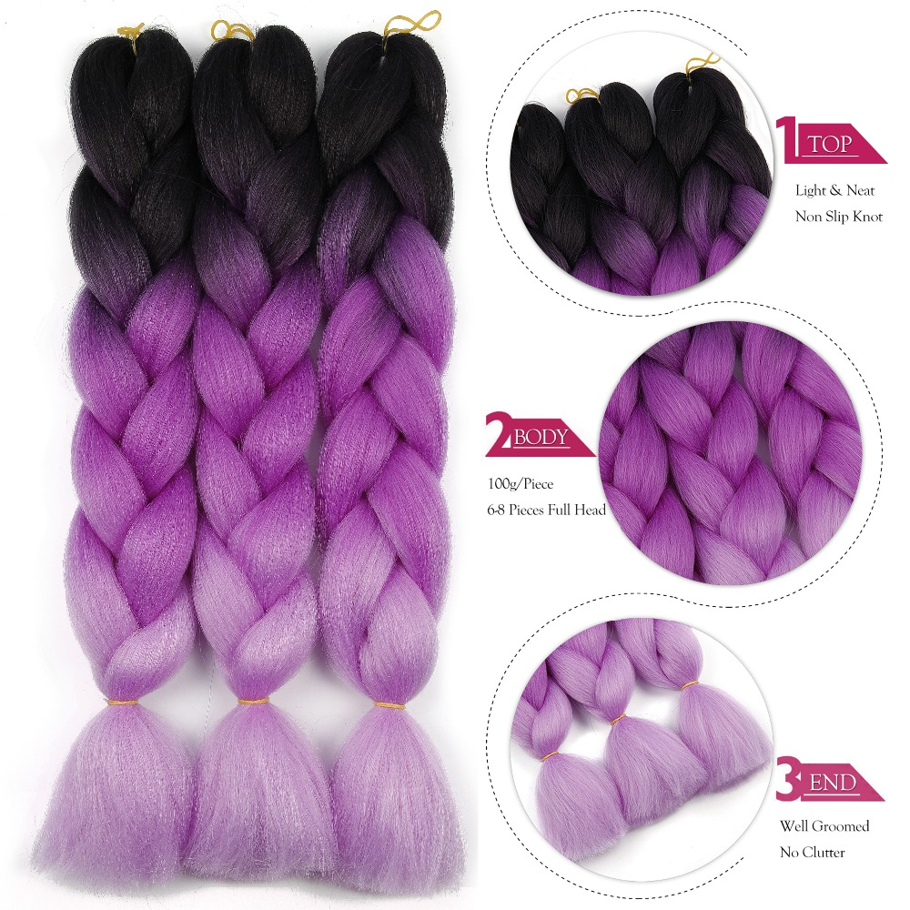 Synthetic hair Braids Ombre Braiding Hair Extension Box Braid Hair Pink Purple Yellow Golden Colors Crochet braids Kanekalon 3