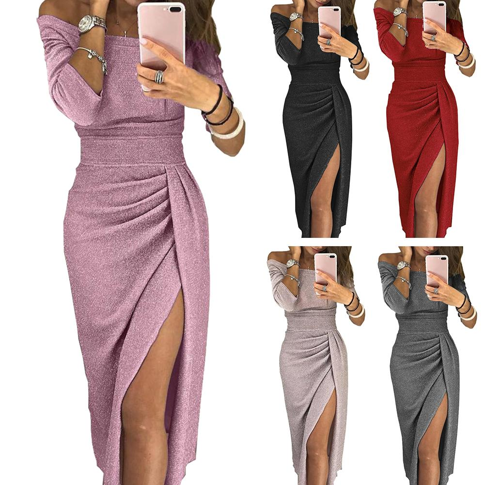 Evening Party Dress Off Shoulder High Split 3/4 Sleeve Bodycon Maxi Red Black Elegant Sexy Women Dress платье женское