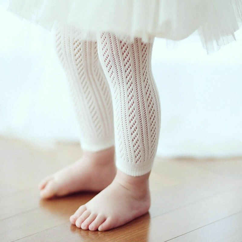 Newborn Baby Girls Cotton Stockings Hollow Elastic Waist Leggings Cute Baby Girl Stretchy Brethable Stockings 0-24M