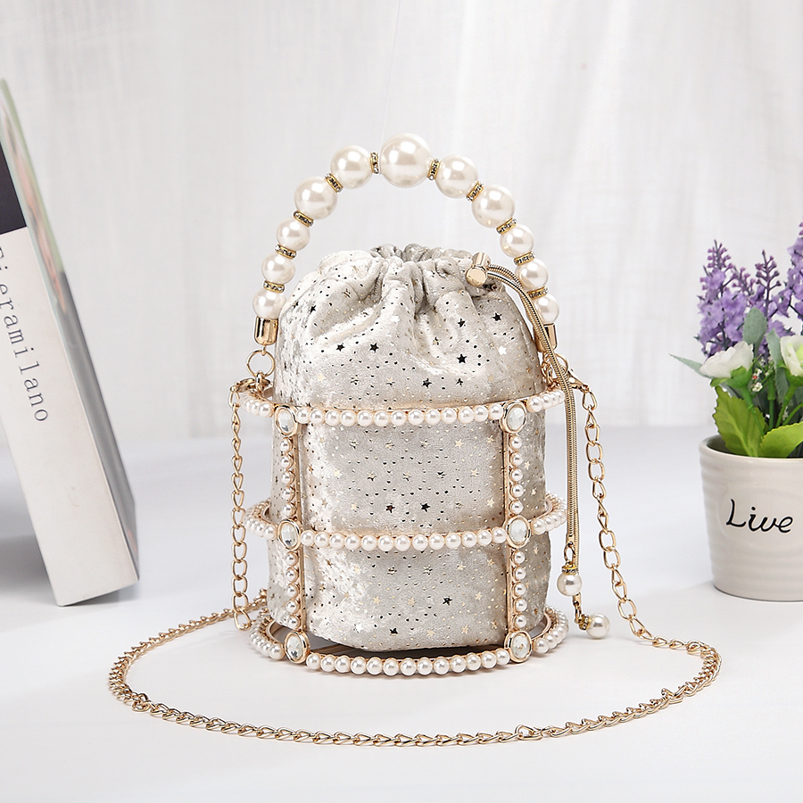 Image 3 - Hollow Out Pearl Bucket Evening Bag Women 2019 Luxury Designer Korean Handmade Alloy Metallic Clutch Bag Ladies Shoulder Bags-in Top-Handle Bags from Luggage & Bags