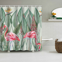 Flamingo Green Leaves Shower Curtain Bathroom Waterproof Polyester Shower Curtain Leaves Printing Curtains for bathroom shower цена 2017