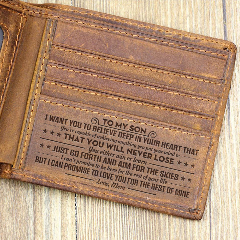 Customized Genuine Leather Wallet Mens Brown Vintage Cow Leather Cash Wallets DEAR SON, ALWAYS LOVE YOU FROM MOM MEN WALLET