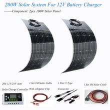 200W الطاقة الشمسية نظام الشمسي كله 2 قطعة 100w مرنة الشمسية لوحة الطاقة كاملة المنزل عدة ل 12v/24v البطارية الشمسية شاحن