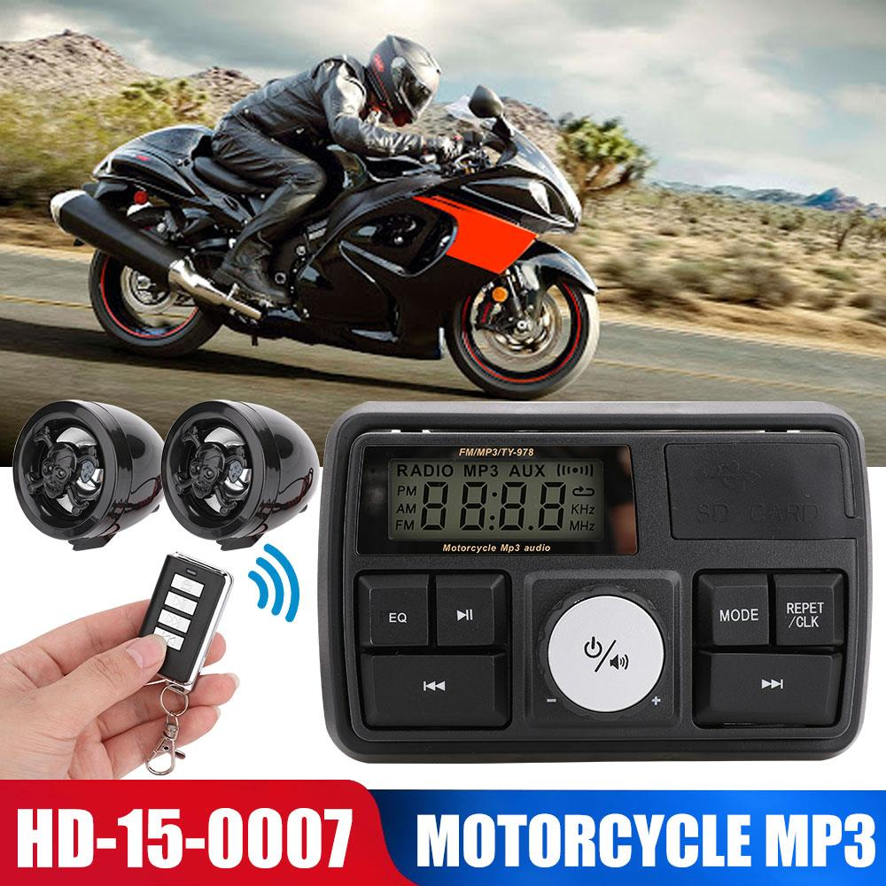 Anti-Theft Audio With Display MP3 Player Motorcycle Sound Motorbike Speaker For Waterproof Radio For Remote Control