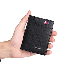 WILLIAMPOLO Mens Wallets Genuine Leather Front Pocket Purse Slim Credit Card Holder Cowskin New Design