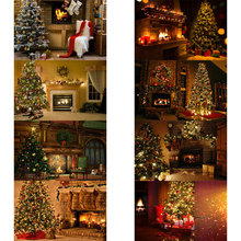 Sensfun 5x3ft Christmas Photography Backdrops Tree Retro Vintage Wooden Wall Fireplace Backdrops for Photo Studio fondo navidad