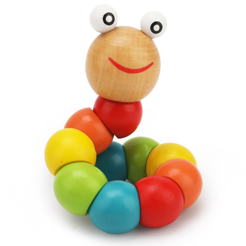 Flexible Color Toy Worm Caterpillar Wooden Children'S Educational Infants Small Toys Wood Animal Manufacturers Direct Selling