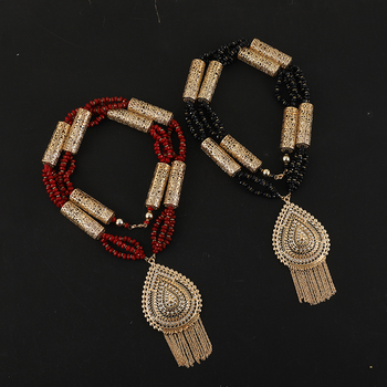 Moroccan Style Breast Accessories Red Bead Strings Handmade Wedding Jewelry Necklace Dubai Fashion Women's Wedding Breast Chain 1