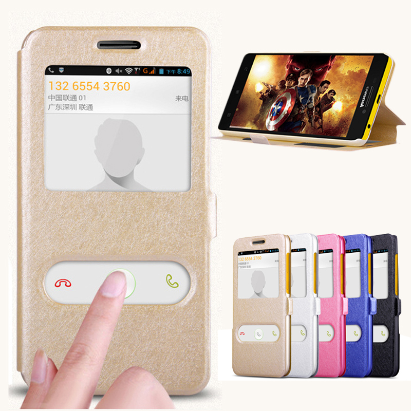 For Lenovo K3 A 6000 <font><b>6010</b></font> Quick Response Quick Response Window Flip Silk Pu Leather Cover For Lenovo Lemon K3 K30-t Phone Cases image