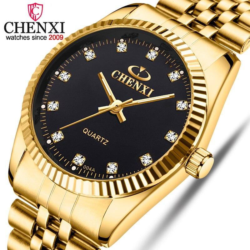 Chenxi relógios de ouro para homens moda negócios marca superior luxo quartzo masculino relógio de pulso à prova dwaterproof água relogio masculino