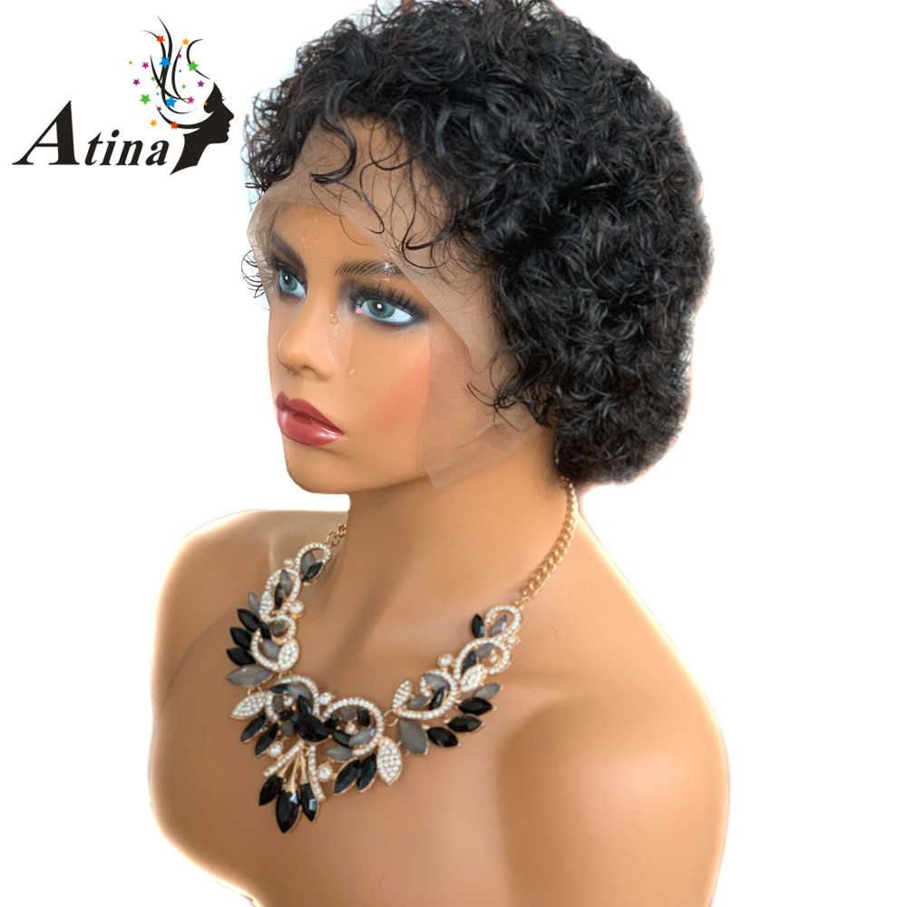 Pixie Cut Wig 13x4 Water Wave Lace Front Human Hair Wigs For Black Women Glueless Short Bob Wigs Brazilian Natural Remy Atina