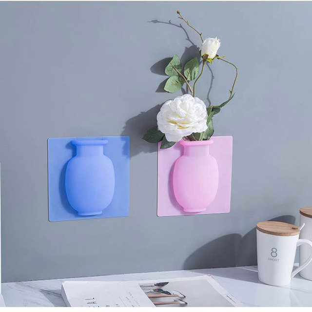 Silicone Sticky Vase Easy Removable Wall & Fridge Magic Flower Plant Vases DIY Home Decoration Accessories Bouquet Storage Decor 5