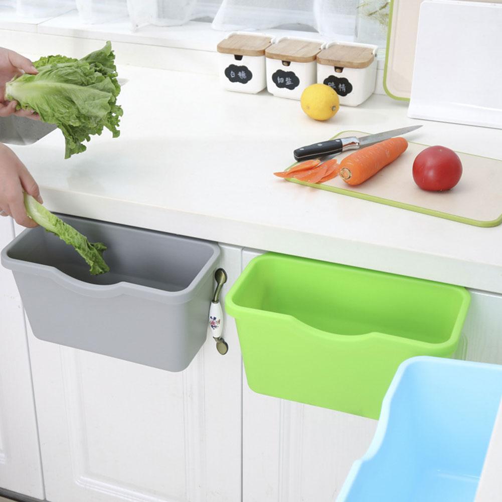 Plastic Basket Hanging Trash Can Waste Bin Garbage Can Storage Box Trash Storage Desktop Kitchen Holder Cabinet Door J0H9