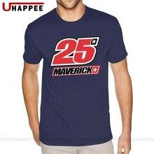 Design maverick vinales 25 logo t camisas masculinas personalizado manga curta algodão em torno do pescoço