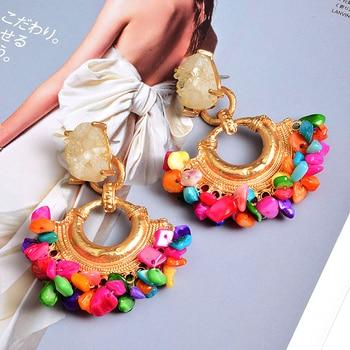 Bohemian Vintage Handmade Colorful Rhinestone  Metal Drop Earrings 3