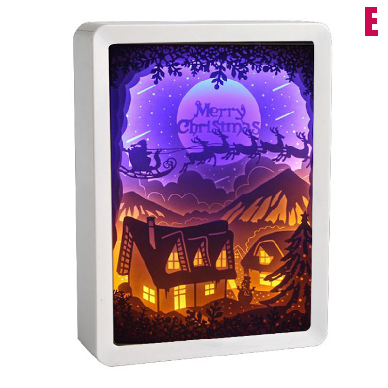3D Night Lamp Paper Pattern Painting LED Table Shadow Box Frame Party Home Decor HUG-Deals