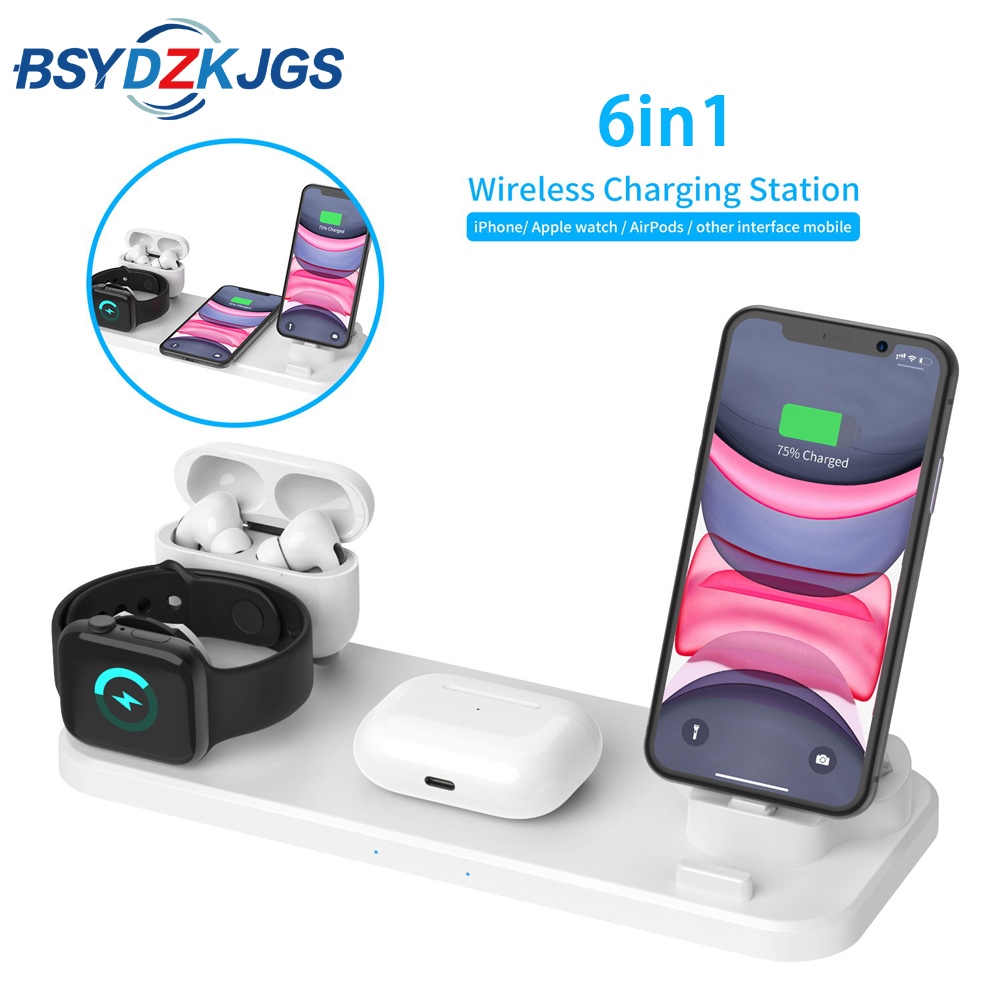 <font><b>6</b></font> IN 1 <font><b>Qi</b></font> Wireless Charger Dock Station For <font><b>Iphone</b></font> XS 11 Pro Max Fast Charger For Apple Airpods Pro Watch 5 4 3 2 1 image