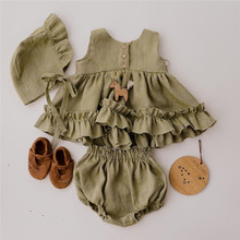 Cotton Linen Baby Girls Clothes Summer 3 Layers Cake Tutu Dress for Girls Clothing Breathable Ruffles Lace Strap Costumes Baby