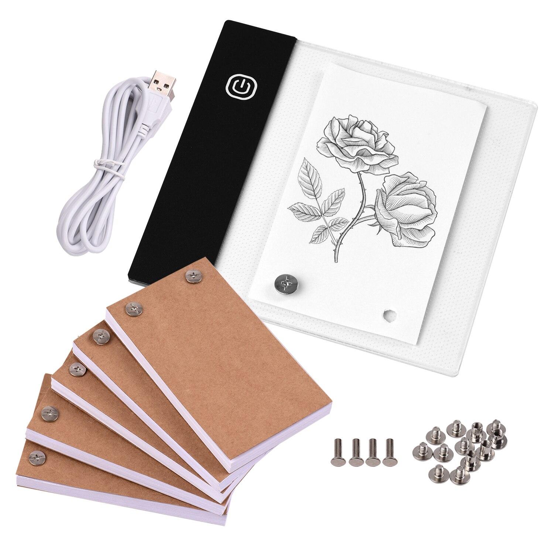 300 folhas flip book kit com mini luz almofada led lightbox tablet design com furo flipbook parafusos de papel para desenho rastreamento