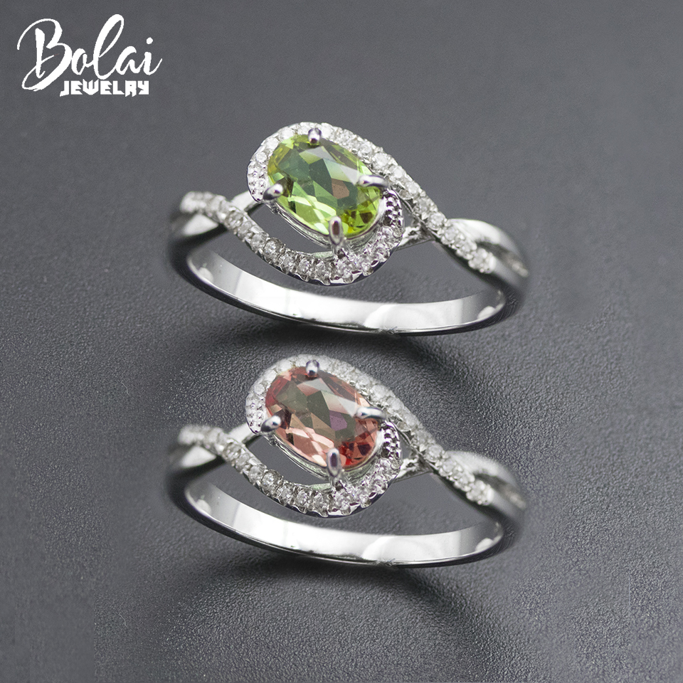 Bolai Color Change Zultanite Ring 925 Sterling Silver Pink Green Nano Diaspore Gemstone Fine Jewelry Ring For Women Simple 11.11