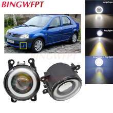 2x Car Accessories LED Fog Light Angel Eye with Glass len For Renault LOGAN Saloon LS 2004-2015 For enault Scenic II 2003-2009