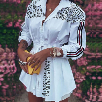 Fashion Women Letter Print Shirt Dress Spring Autumn Long Sleeve Party Miini Dresses Office Laides Turn-down Collar