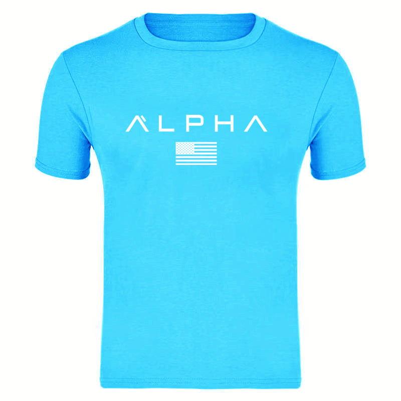 2019 Summer Men T-Shirt Vintage Short Sleeve Leisure O Neck Alpha Print Male Shirt Muscle Fitness T Shirt Men Top