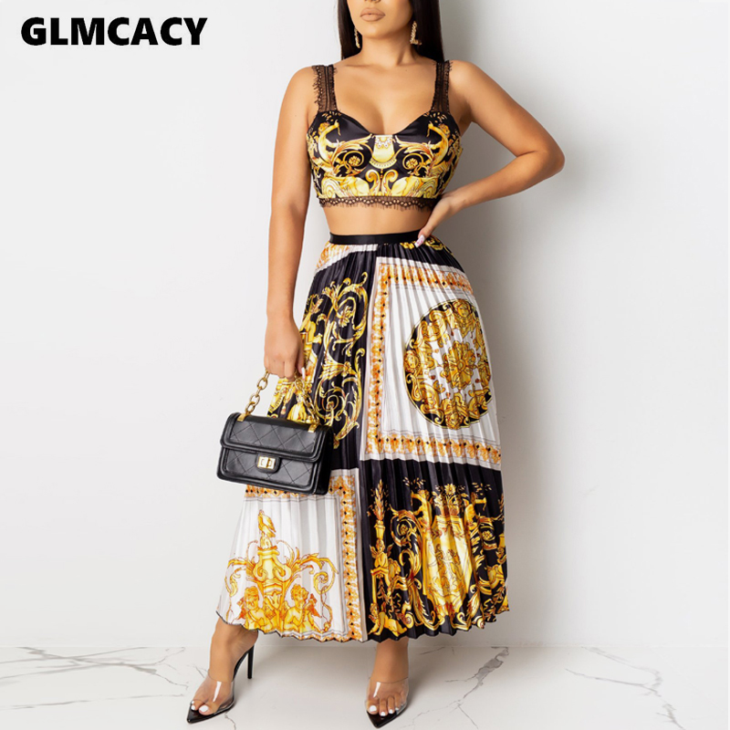 Women Lace Insert Spaghetti Strap Crop Top And Midi Skirts Set Two Pieces Summer Outfits Sexy Club Partywear