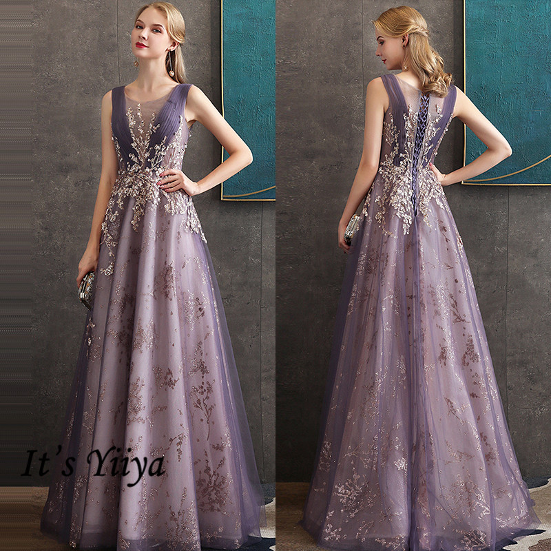 It's Yiiya Tank Evening Dress O-Neck Sequined Floor-Length Sleeveless Evening Dress 2020 K325 A-Line Dress Woman Party